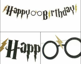 Harry Potter Happy Birthday Banner, Harry Potter Party Garland