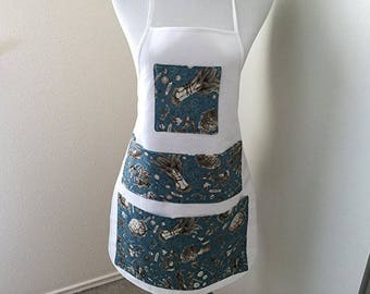 Handmade Full Gardening Apron With Blue Vegetable Apron