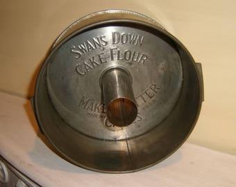 Antique Swans Down CAKE TIN Katzinger Side Vents Sponge Baking Pan Mold Vintage USA American Patent 1923