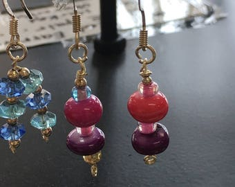 Pink and purple earrings for women