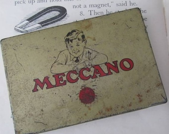 Big Boys Toys- vintage Meccano Tin for Small Toy Pieces/Parts - 1950's