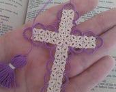 SALE Easter Purple & Creamy Ecru Bible Bookmark Tatted Cross Handmade Tatting