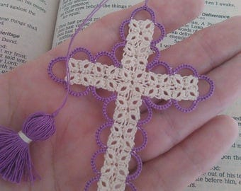 Purple & Creamy Ecru Bible Bookmark Tatted Cross Handmade Tatting