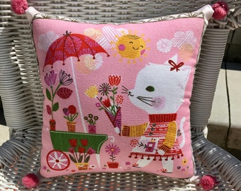 Vintage Style Kitten and Garden Cart PILLOW Baby Nursery Ready-to-Ship