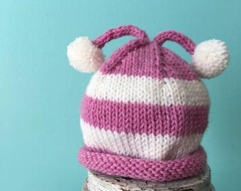 Baby Hat - Knit Baby Hat - Pink Knit Hat - Pom Pom Hat - Newborn Hat - 3 to 6 Months - Pink Knit Hat - Pink - Baby - Striped Baby Hat