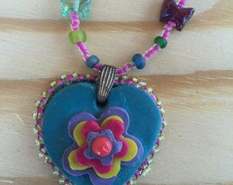Flowers and heart necklace