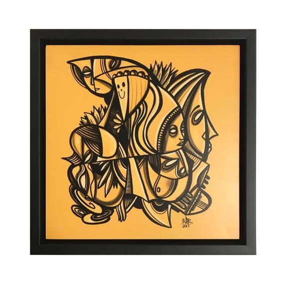 Honey Slumber - Original Digital Drawing - 8x8 Print on Wood - Framed - Signed and Ready to Hang