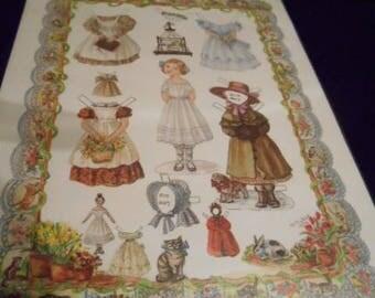 1990s Tasha Tudor Little Amelia Paper Doll Print Un-cut