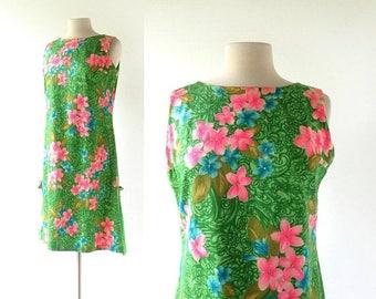 20% off sale Hawaiian Shift Dress | Vintage 1960s Dress | Floral Print Dress | Medium M