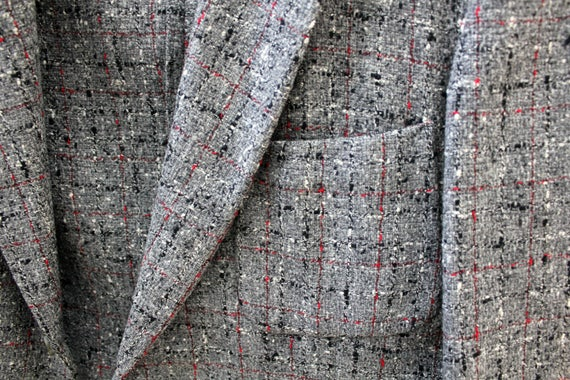 Vintage Gray Fleck Jacket, Mens 3 Pocket Tweed Rockabilly Sport Coat w/ Watch Pocket