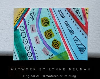 ACEO Original Hand-Painted One-of-a-Kind Abstract Mini Watercolor Signed Painting by Lynne Neuman #4357 OOAK Miniature Small Format Art ATC