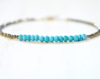 tiny faceted pyrite with turquoise bracelet. thin pyrite bracelet with turquoise beads. bronze pyrite and turquoise bracelet
