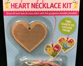 Cross Stitch Crazy Spring Florals Heart Necklace Kit Cross Stitch New