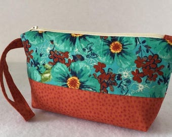 Cosmetic Bag, Wristlet, Clutch, Small Purse, Great for Travel, with Zipper, in Teal and Orange