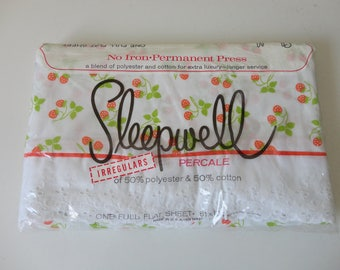 VINTAGE new old stock nos sleepwell full size FLAT SHEET - red white green strawberry pattern - 81 x 104 inches