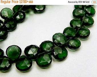 SALE Green Hydro Quartz Gemstone, Faceted Heart Briolettes.  9-10mm. Semi Precious gemstone.Pairs or NOnMatching 1 to 5 Briolettes  (9hqg4)