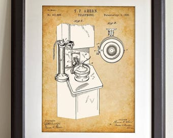 Telephone - 11x14 Unframed Patent Print - Great Gift for Country Decor