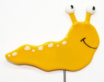 Glassworks Northwest - Slug Plant Stake - Yellow - Fused Glass Garden Art