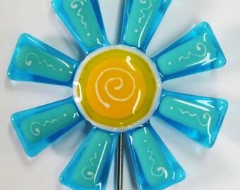 Glassworks Northwest - Aqua and Turquoise Flower Stake - Fused Glass Garden Art