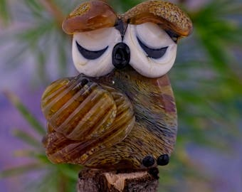 Gemma...... lampwork owl bead............ sra