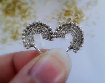 Tribal Beaded Earring - Tribal Beaded Earrings Sterling Silver - Circle Stud Earrings - Circle Stud Earrings Sterling Silver - Aztec Studs