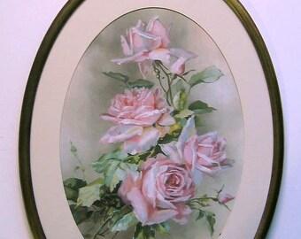 Roses, Print, Catherine Klein, Antique, 1890s, Brass, Fancy, Filigree, Frame, Art Print, Shabby Chic, C Klein