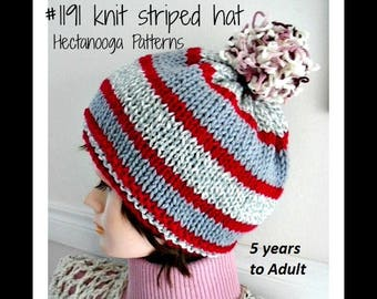 knitting pattern, KNIT HAT PATTERN, Child - teen- adult sizes, Easy beginner flat knit method, #2032
