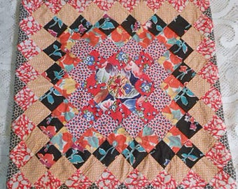 Vibrant FEEDSACK PILLOW COVER Sham Vintage Trip Around The World Pattern Orange Flowers Gold Geo Red Black Prints, Newly Made Bungalow 18""