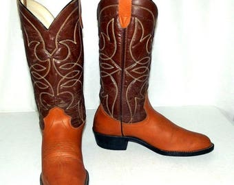 Bronco cowboy boots - Two tone brown size 9.5 D or womens size 11