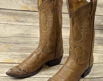 Tony Lama Cowboy Boots Mens Size 10 D Vintage Tan Wingtips Country Western Shoes