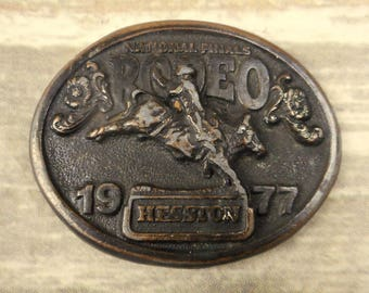 1977 NFR Belt Buckle Hesston National Finals Rodeo Bull Riding Distressed Vintage
