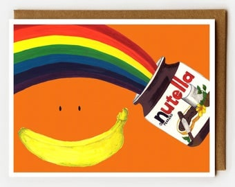 Nutella Card, Blank Card, Card for Nutella Lover, LGBT Gift, All Occasion Card, Greeting Card, Blank Notecard, Dessert Lover, Rainbow, Funny