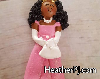 ONLY 5 LEFT! African American Black Princess Christmas Tree Ornament Available to Personalize.