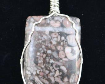 Purple Fossilized Coral .925 Argentium Silver Wire Wrapped Pendant