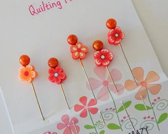 Fimo Flower Pins - Quilting Pins - Sewing Gift - Gift for Quilter - Pincushion Pins - Scrapbooking - Cardmaking - Fancy Sewing Pins - OOAK