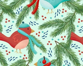Holiday Birds Fabric - Winter Birds On Green By Jaymehennel - Christmas Winter Woodland Birds Cotton Fabric By The Yard With Spoonflower