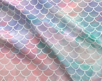 Watercolor Scales Fabric - Watercolor Mermaid Scales By Xtinew - Fish Dragon Scales Pink Blue Cotton Fabric By The Yard With Spoonflower