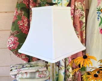 Linen Lamp Shade Square Bell Lampshade - 4x8x8.5 Vintage Fabric Handmade Shade - Vintage Linen