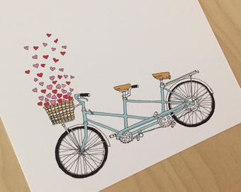 Tandem hearts - tandem bike love card - valentine card
