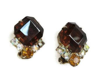 Amber, Topaz & Aurora Borealis Rhinestone Earrings Vintage