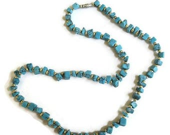 SALE Faux Turquoise Chips Necklace Vintage