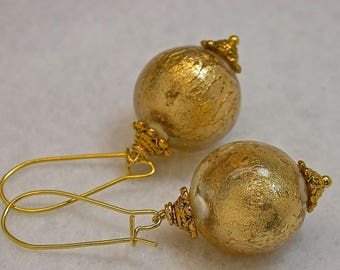 Vintage Japanese Lucite Gold Foil Clear Crystal Long Dangle Drop Earrings,Gold Bead Caps, Gold Kidney Ear Wires - GIFT WRAPPED