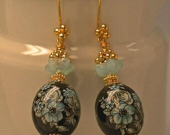 Vintage Japanese Tensha Black Aqua Blue Gold Flower Bead Earrings, Vintage German Aqua Glass Flower, Bali 24K Gold Vermeil Beads/Ear Wires