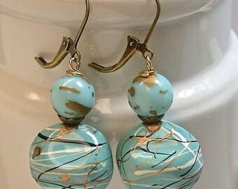 Vintage German Aqua Blue Lucite Dangle Drop Nugget Bead Earrings, Gold, White ,Black - Antiqued Brass Lever Back Ear wires