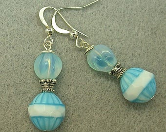 Vintage German Pressed Glass Aqua Blue White Bead Dangle Earrings ,Vintage German Aqua Opalite Glass Beads ,Silver Ear Wires - GIFT WRAPPED