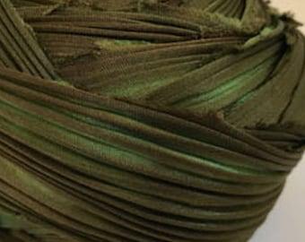 1 yd Shibori Ribbon Olive Green Hand Dyed Silk Ribbon