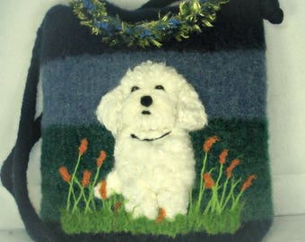 Felted Purse, Bichon Art, Felted Handbag, Dog Purse, Bichon Frise, Needle Felt Dog, Fiber Art