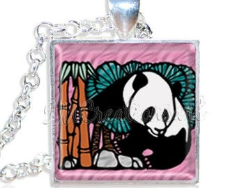 """25% OFF - Adorable Panda 1"""" Square Glass Pendant or with Necklace - SQ150"""