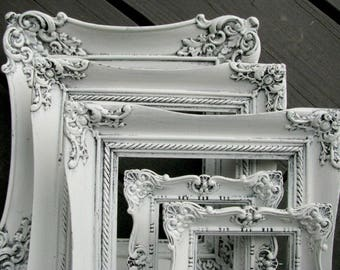 Ornate Vintage White Picture Frames | Shabby Chic Photo Frames | Gallery Wall | Wedding  |Nursery Decor | Instant Collection Set of 5