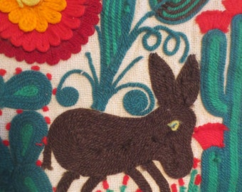 Yarn donkey Wall Hanging / Mexican or Native American Folk Art / Folk art wall hanging / donkey cactus